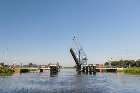 ijssel: Open bridge over Dutch river the IJssel