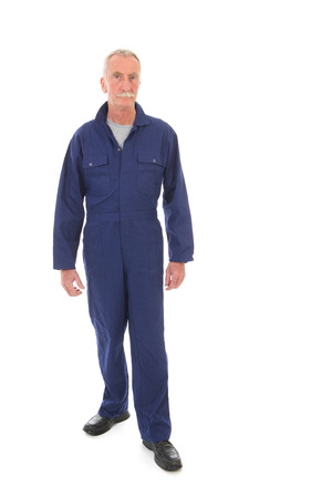studio happy overall: Senior laborer in blue work wear isolated over white background