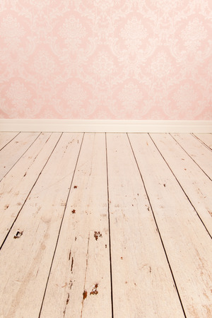 pink wall paper: Vintage room with old wall paper and floor