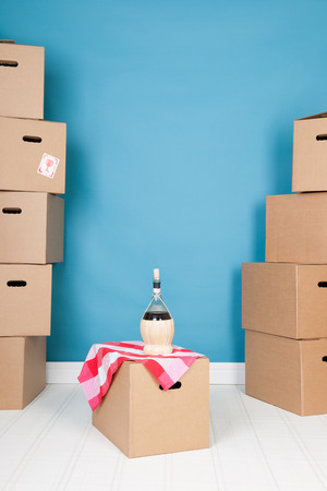 unpacked: Moving into a new house with many unpacked boxes Stock Photo