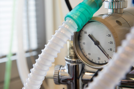 oxigen: Measure device for oxigen in surgery Stock Photo