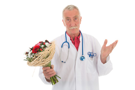 forgiving: doctor is giving flowers to say I am wrong