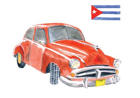 水彩画の手描きのキューバの国旗と赤いアメリカ ビンテージ車