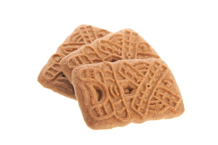 speculaas: Speculaas is a typical Dutch cookie isolated over white background Stock Photo