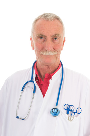 Portrait senior physician on white background photo