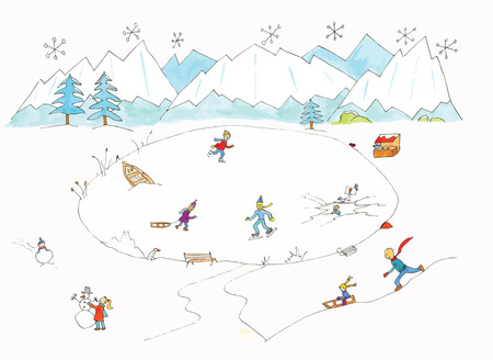 sledging: Ice and snow fun illustation in landscape