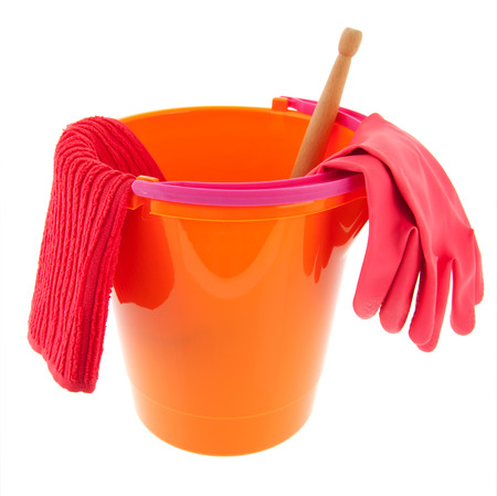 orange and pink bucket with cleaning equipment photo