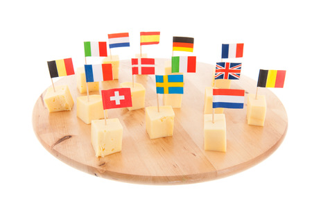 Tray with European cheese cubes with flags photo