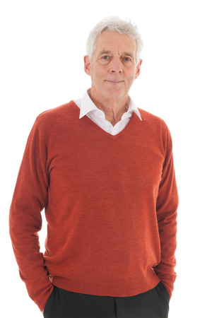 man isolated: Portrait senior man isolated over white background