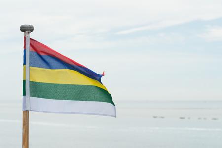 wadden: Flag Dutch wadden island Terschelling at the sea