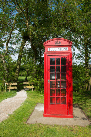 payphone: Red English call box in nature