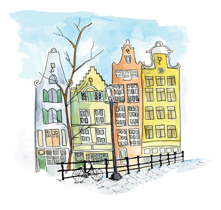 dutch typical: Streets and canal in the city of Amsterdam Illustration
