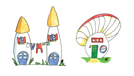House for gnome made from mushroom vector in watercolor Vector