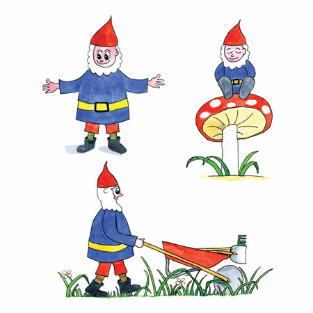 Funny watercolor gnomes isolated over white background Vector