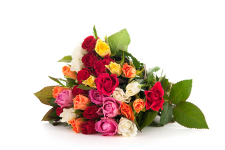 Bouquet colorful roses isolated over white background Banque d'images