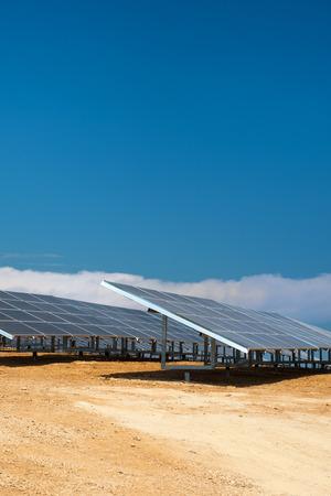 sun energy: Solar panels for sun energy in landscape