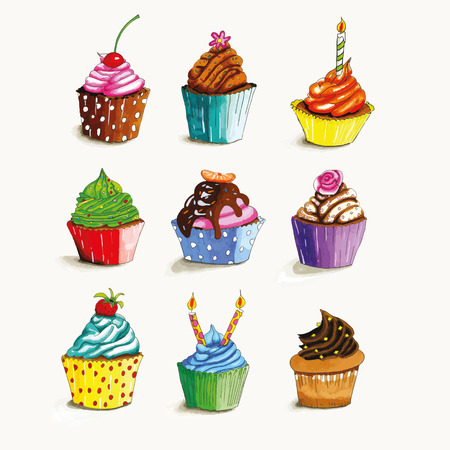 burning paper: Hand drawn cupcakes with colorful butter cream isolated over white background