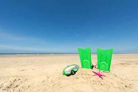 swim mask: Summer beach with diving equipent for children