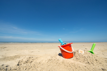 flip flops: Summer beach with toys and flip flops