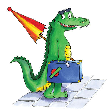 Hand drawn crocodile traveling in summer Vector