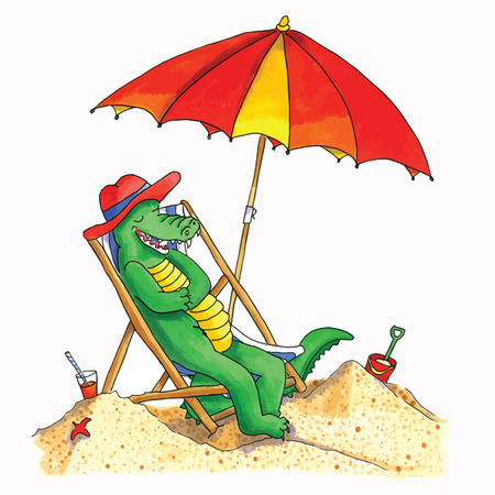 Hand drawn funny crocodile relaxing at the beach Vector