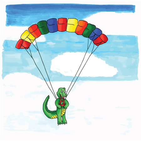 Hand drawn funny crocodile hanging at paraglider Vector