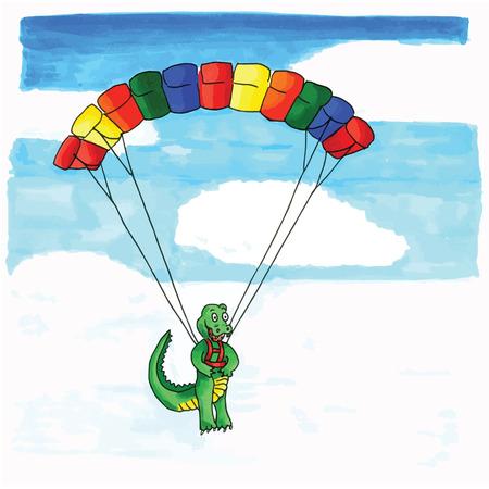 Hand drawn funny crocodile hanging at paraglider Vector