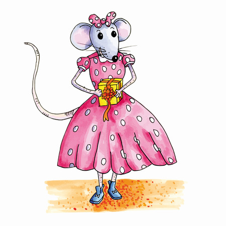 cadeau anniversaire: souris adolescent avec un cadeau d'anniversaire Illustration