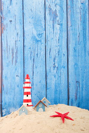 houses row: Row blue beach houses with vintage wooden background