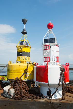 buoys: Colorful buoys for navigation in the sea