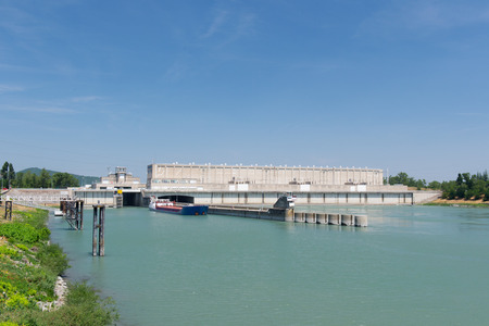 weir: River the Rhone with weir and sluice