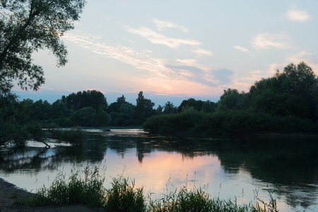 Landscape river the Doubs in evening