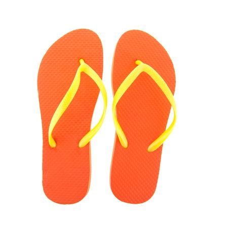 flipflops: Orange flipflops for the summer isolated over white background