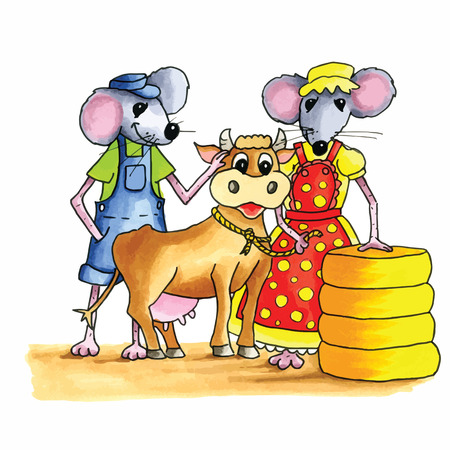 bog: From the series mouse - couple mice with cow and bog stack cheese Illustration
