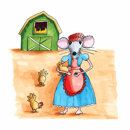 peasant woman: From the series mouse - farmers wife feeding the chicken