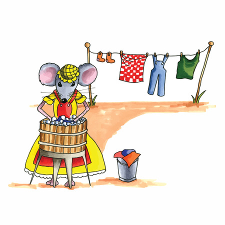 From the series mouse - mouse is washing the laundry Ilustração