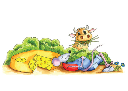 eaten: From the series mouse - mouse has eaten cheese with cow in background