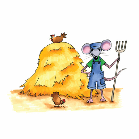 hay: From the series mouse - mouse as farmer with hay stack