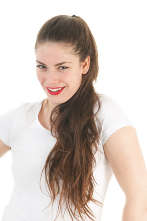 sneaky: Portrait young female adult isolated over white background