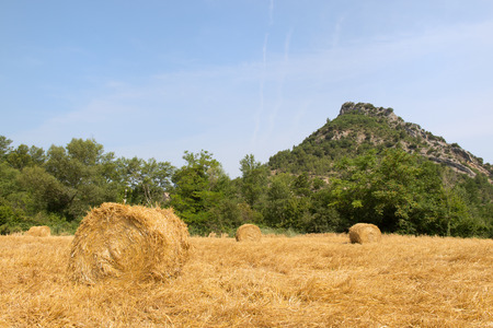 bails: Round hay bails in French Drome landscape Stock Photo