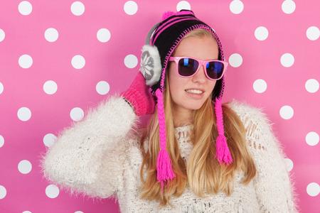 fourteen: Fourteen years old teen girl in winter time