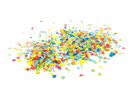isolated on white: Colorful paper confetti isolated over white background
