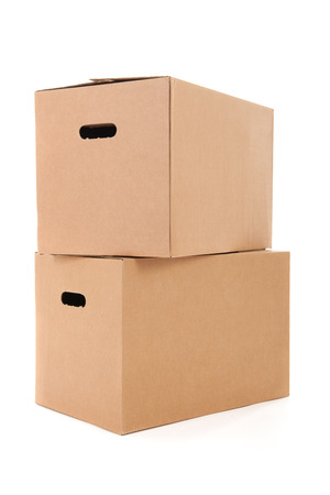 several carton boxes isolated over white background Stock fotó