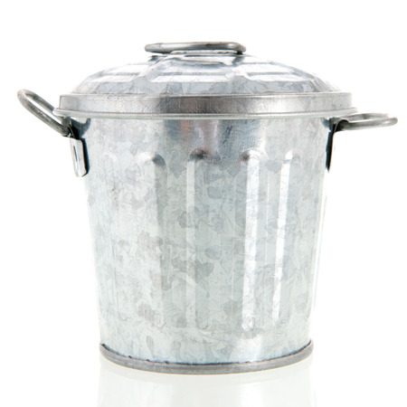 shiny metal: Metal trash can isolated over white background