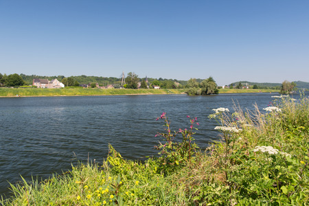 meuse: Landscape river the Meuse in Dutch Limburg with Belgium village Lanaye at the opposite Stock Photo