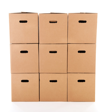 container box: Many carton boxes isolated over white background