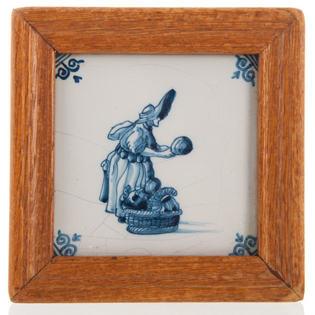 dutch typical: Antique typical Dutch blue tile isolated over white background