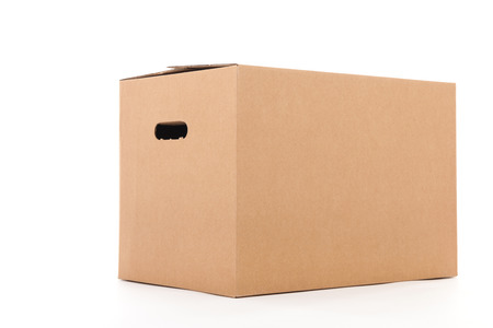 simple store: Closed carton box isolated over white background