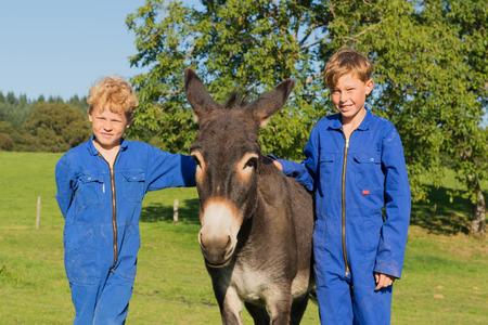farm boys: Farm boys posing with their donkey Stock Photo