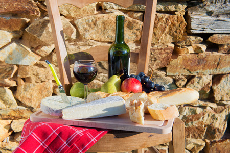 roquefort: French meal with cheese, bread and wine Stock Photo